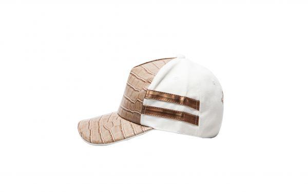 White Cap with Brown Croc Copper Strap
