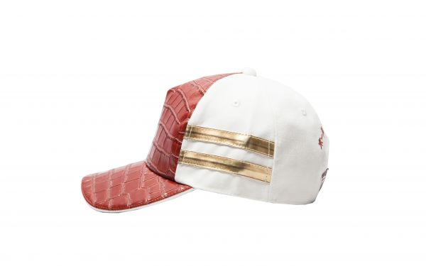 White Cap with Red Croc Gold Strap