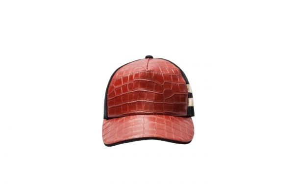Black Cap with Red Croc Gold Strap