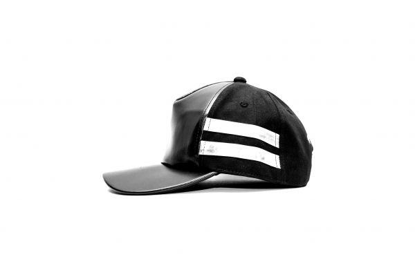 Black Leather Silver Strap Cap