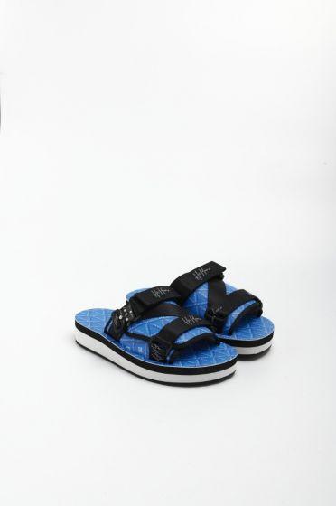 H8 Casino monogram light blue double strap sandals