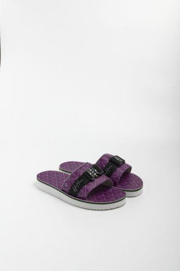 H8 Casino monogram purple single strap sandals