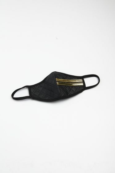 Black Quilted Leather Mask with Gold Strap